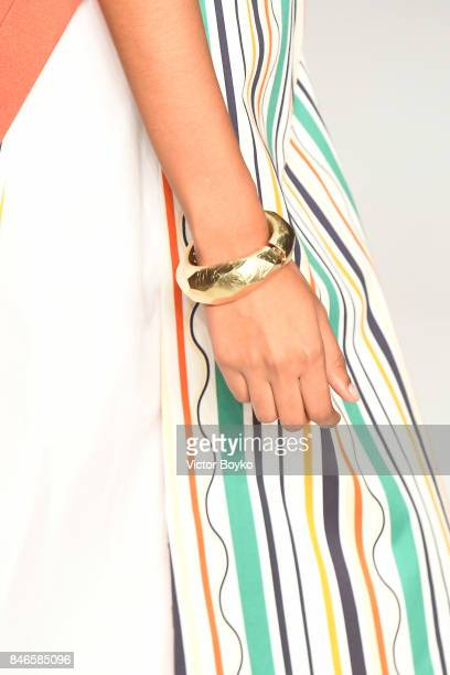A model jewellery detail walks the runway at the Mehtap Elaidi show during MercedesBenz Istanbul Fashion Week September 2017 at Zorlu Center on...