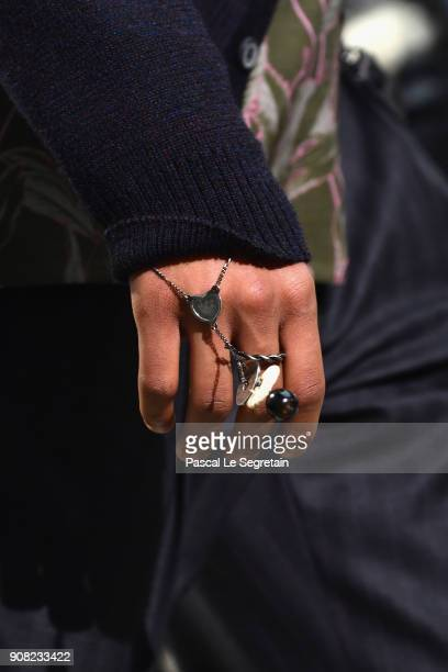 A model jewellery detail walks the runway during the Lanvin Menswear Fall/Winter 20182019 show as part of Paris Fashion Week on January 21 2018 in...