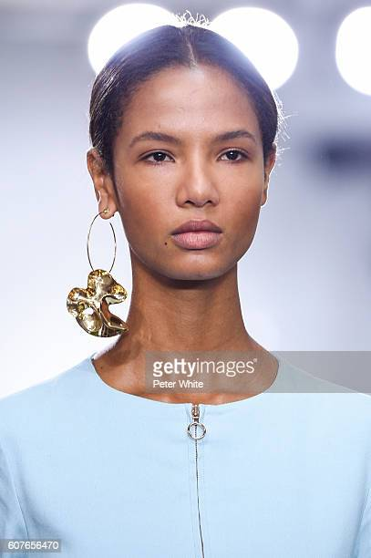 A model jewelry detail walks the runway at the Tibi fashion show during New York Fashion Week at Industria Studios on September 10 2016 in New York...
