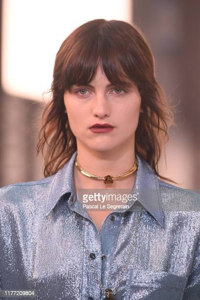 Model, jewelry detail walks the runway during the Chloe Womenswear Spring/Summer 2020 show as part of Paris Fashion Week on September 26, 2019 in...