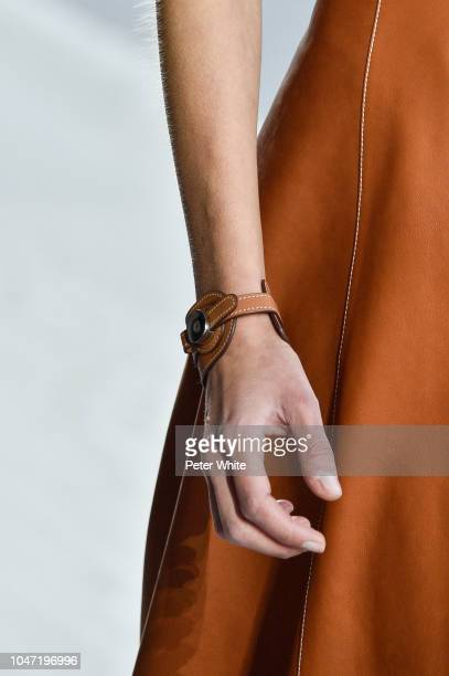 A model jewelry detail walks the runway during the Hermes show as part of the Paris Fashion Week Womenswear Spring/Summer 2019 on September 29 2018...