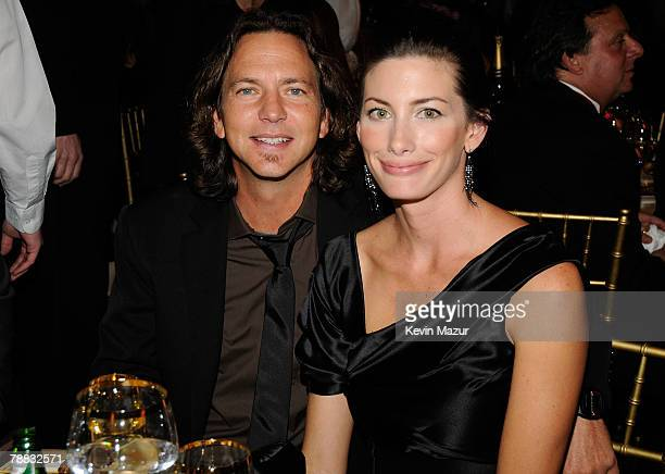 Model Jill McCormick and musician Eddie Vedder pose inside at the 13th ANNUAL CRITICS' CHOICE AWARDS at the Santa Monica Civic Auditorium on January...