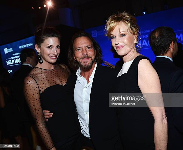 Model Jill McCormick musician Eddie Vedder and actress Melanie Griffith attend the 2nd Annual Sean Penn and Friends Help Haiti Home Gala benefiting...