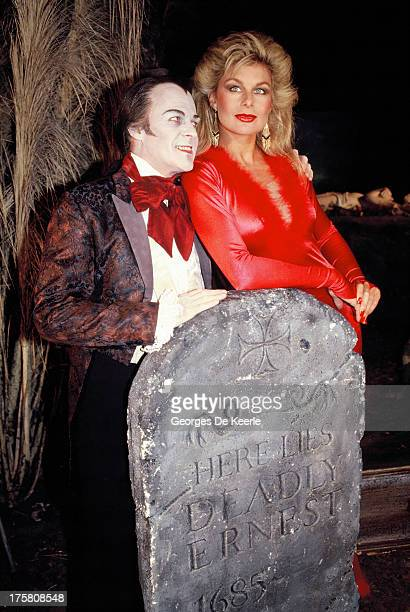 Model Jilly Johnson and singer Jack Hardy at Sky Channel tv show 'Deadly Ernest Horror Show' in 1989 ca in London England