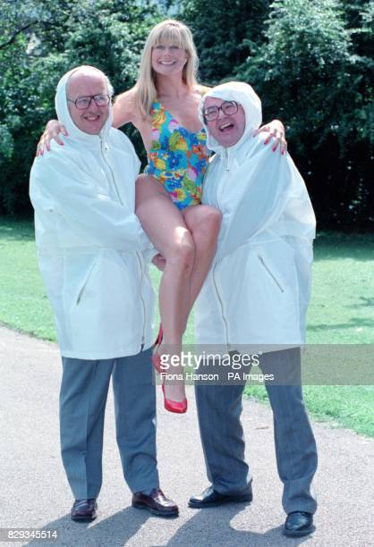 Model Jilly Johnson with BBC weatherman Michael Fish and Ian Mccaskill at the launch of the Cadbury's Strollerthon in London Over 15000 strollers are...