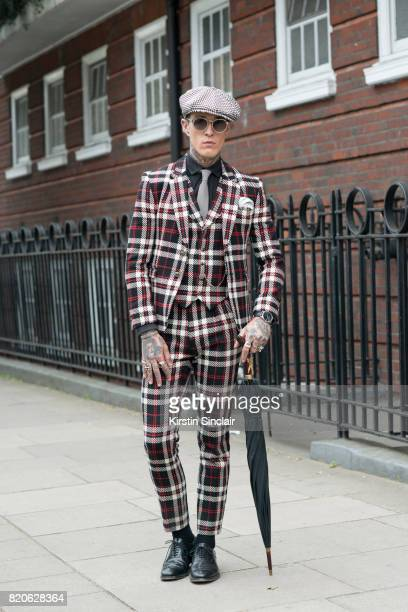 Model Jimmy Q wears all Joshua Kane with Linda Farrow sunglasses on day 3 of London Collections Men on June 12 2017 in Paris France