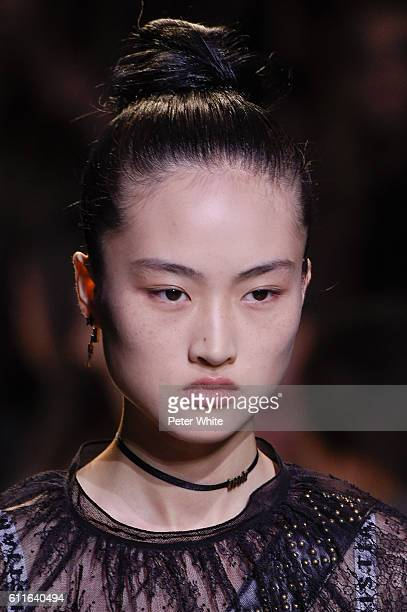 Model Jing Wen beauty runway detail walks the runway during the Christian Dior show as part of the Paris Fashion Week Womenswear Spring/Summer 2017...