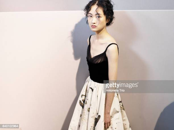 Model Jing Wen poses Backstage prior the Christian Dior Spring Summer 2017 show as part of Paris Fashion Week on January 23 2017 in Paris France