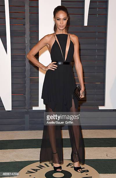 Model Joan Smalls arrives at the 2015 Vanity Fair Oscar Party Hosted By Graydon Carter at Wallis Annenberg Center for the Performing Arts on February...