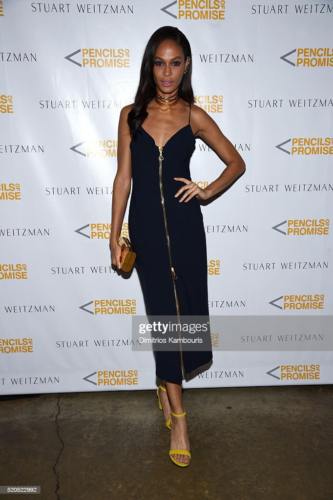 Model Joan Smalls attends as Stuart Weitzman launches its partnership with Pencils Of Promise at Sadelle's on April 11, 2016 in New York City.