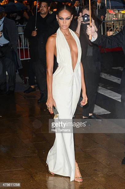 Model Joan Smalls enters the 2015 CFDA Fashion Awards at Alice Tully Hall at Lincoln Center on June 1 2015 in New York City