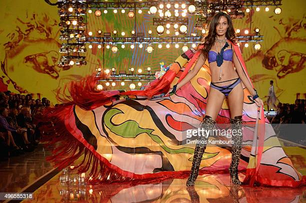 Model Joan Smalls from Puerto Rico walks the runway during the 2015 Victoria's Secret Fashion Show at Lexington Avenue Armory on November 10, 2015 in...