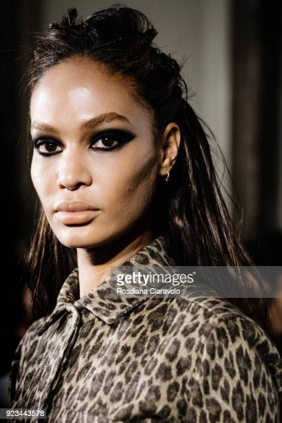 Model Joan Smalls is seen backstage ahead of the Max Mara show during Milan Fashion Week Fall/Winter 2018/19 on February 22 2018 in Milan Italy