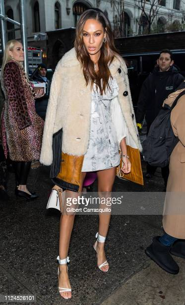 Model Joan Smalls is seen leaving Coach 1941 fashion show at the NYSE during New York Fashion Week on February 12 2019 in New York City