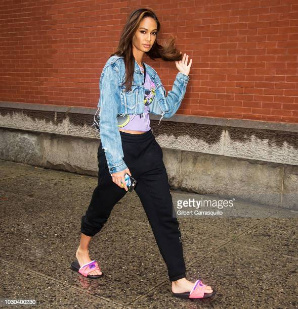 Model Joan Smalls is seen leaving the Escada SS19 fashion show during New York Fashion Week at Park Avenue Armory on September 9 2018 in New York City