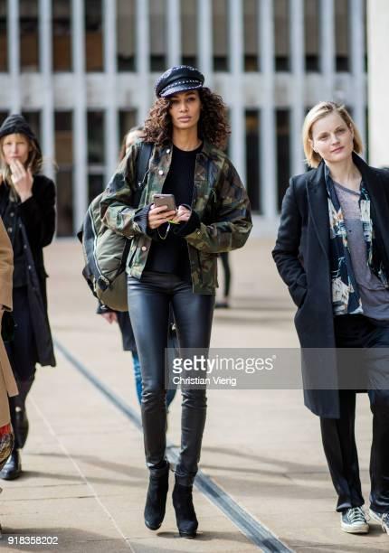 Model Joan Smalls seen outside Michael Kors on February 14 2018 in New York City