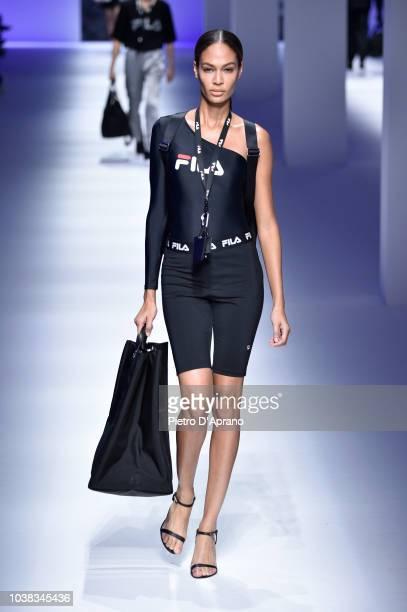 Model Joan Smalls walks the runway at the Fila show during Milan Fashion Week Spring/Summer 2019 on September 23 2018 in Milan Italy