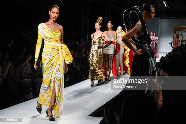 Model Joan Smalls walks the runway at the Moschino show during Milan Fashion Week Spring/Summer 2019 on September 20 2018 in Milan Italy