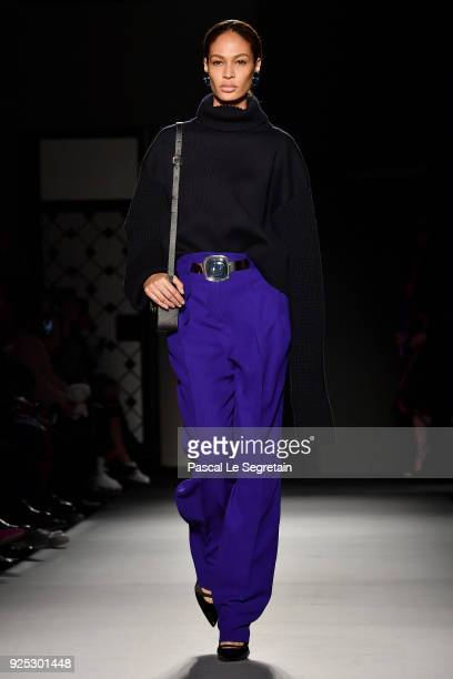 Model Joan Smalls walks the runway during the Lanvin show as part of the Paris Fashion Week Womenswear Fall/Winter 2018/2019 on February 28 2018 in...