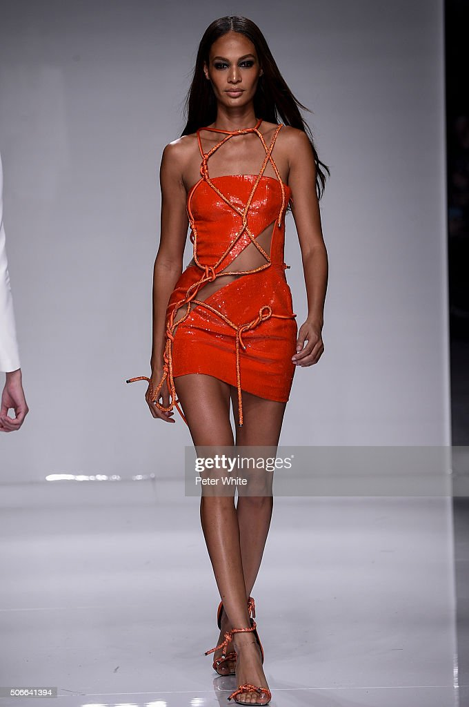 Model Joan Smalls walks the runway during the Versace Spring Summer 2016 show as part of Paris Fashion Week on January 24, 2016 in Paris, France.