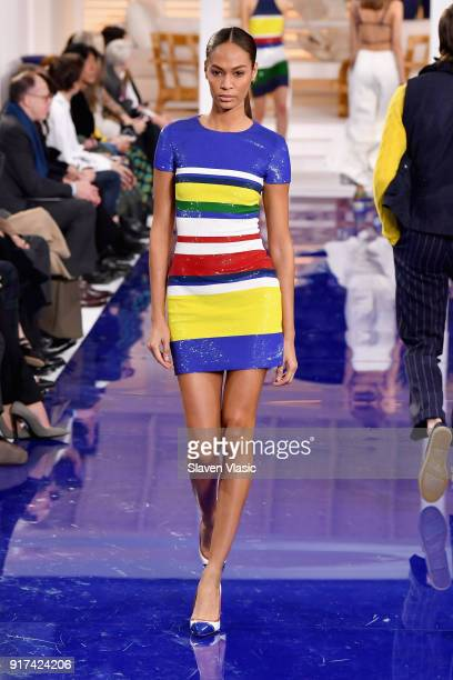 Model Joan Smalls walks the runway for Ralph Lauren during New York Fashion Week The Shows at on February 12 2018 in New York City