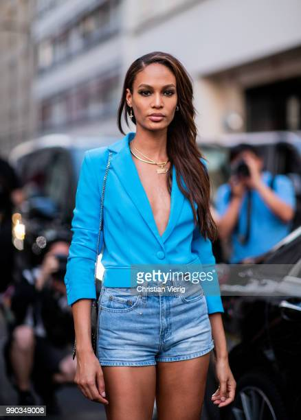 Model Joan Smalls wearing denim shirts blue blazer is seen outside Dundas on day two during Paris Fashion Week Haute Couture FW18 on July 2 2018 in...