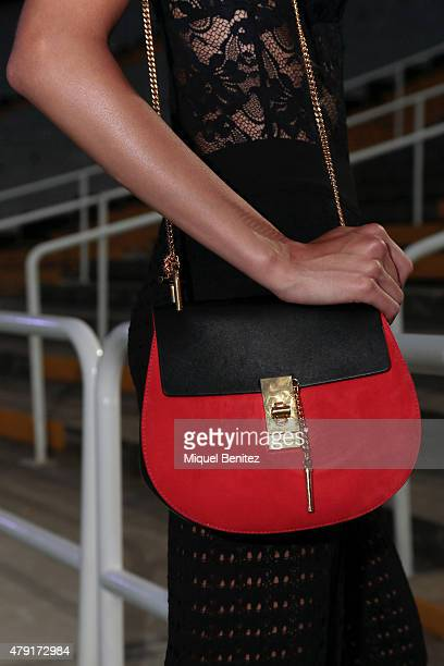 Model Joana Sanz is seen wearing an Intimissimi top Mango trousers Cloe handbag and Zara sandals at '080 Barcelona Fashion AutumnWinter 20152016' at...