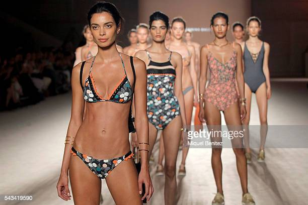 Model Joana Sanz walks the runway at the Guillermina Baeza show during the Barcelona 080 Fashion Week Spring/Summer 2017 at the INEFC Institut...