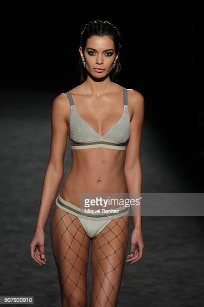 Model Joana Sanz walks the runway at the Miquel Suay show during the Barcelona 080 Fashion Week Autumn/Winter 2016/2017 at Casa Llotja de Mar on...