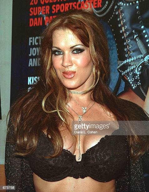 Model Joanie Laurer formerly known as WWF wrestler Chyna poses at a preview of the Exotic Erotic Ball where she promoted her spread in the January...