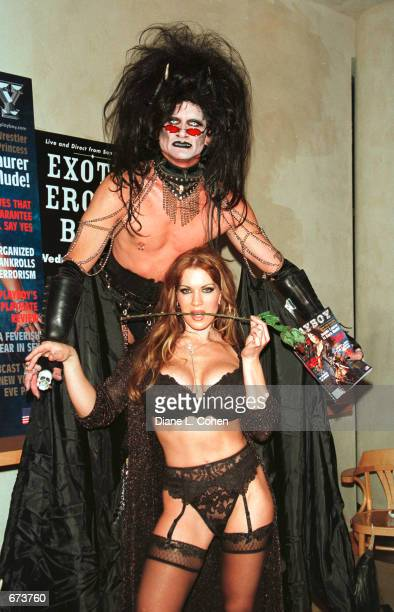Model Joanie Laurer formerly known as WWF wrestler Chyna poses with a Goth character at a preview of the Exotic Erotic Ball where she promoted her...