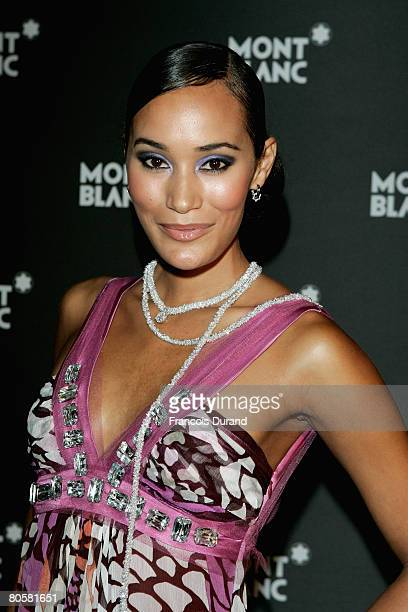 Model Jo-Ann Strauss attends the 'Writing Time', Robert Wilson's watch launch gala hosted by Montblanc during the Salon International de la Haute...