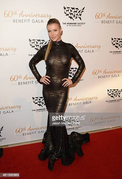Model Joanna Krupa attends the Humane Society of The United States 60th Anniversary Gala at The Beverly Hilton Hotel on March 29 2014 in Beverly...