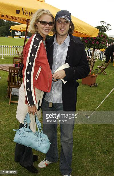 Model Jodie Kidd and internet entrepreneur partner Aidan Butler attend the Veuve Clicquot Gold Cup Finals Day at Cowdray Park Polo Club Midhurst on...