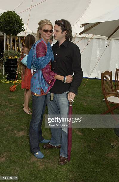 Model Jodie Kidd and internet entrepreneur partner Aidan Butler attends the Cartier International Day held at Guards Polo Club Windsor Great Park on...