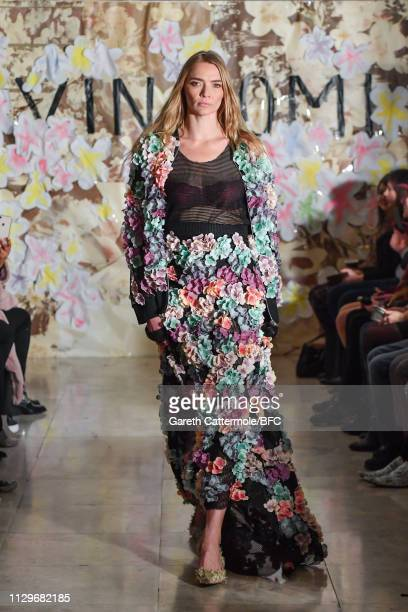 Model Jodie Kidd walks the runway at the VIN OMI show during London Fashion Week February 2019 on February 14 2019 in London England