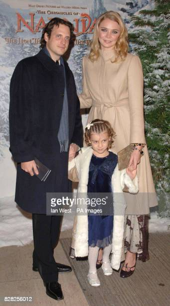 Model Jodie Kidd with husband Aidan Butler and her niece as they arrive for the Royal Film Performance World Premiere of 'The Chronicles Of Narnia'...