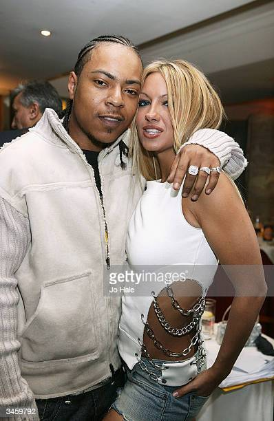 Model Jodie Marsh and J Rock from Big Brovaz attend the aftershow party for the launch of the 7th NatWest EMMA Awards on April 22 2004 at La Terrazza...