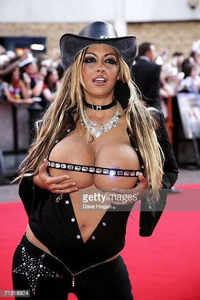Model Jodie Marsh arrives at the UK Charity Premiere of 'Just My Luck' at Vue West End Leicester Square on June 28 2006 in London England