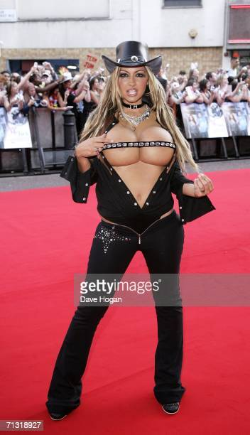 Model Jodie Marsh arrives at the UK Charity Premiere of Just My Luck at Vue West End Leicester Square on June 28 2006 in London England