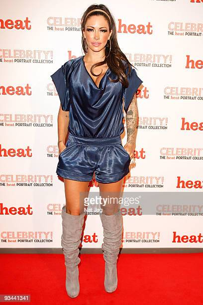 Model Jodie Marsh attends the private view of Heat Magazine's portrait collection - 'Celebrity' on November 26, 2009 in London, England.