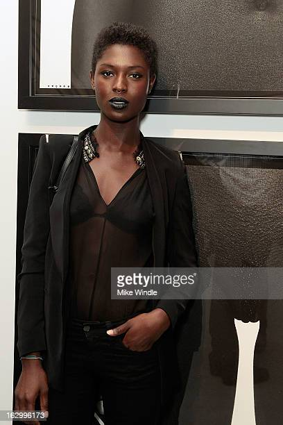 Model Jodie Smith attends the Samuel Bayer Ace Gallery Exhibit Opening presented by Panavision at Ace Gallery on March 2 2013 in Beverly Hills...