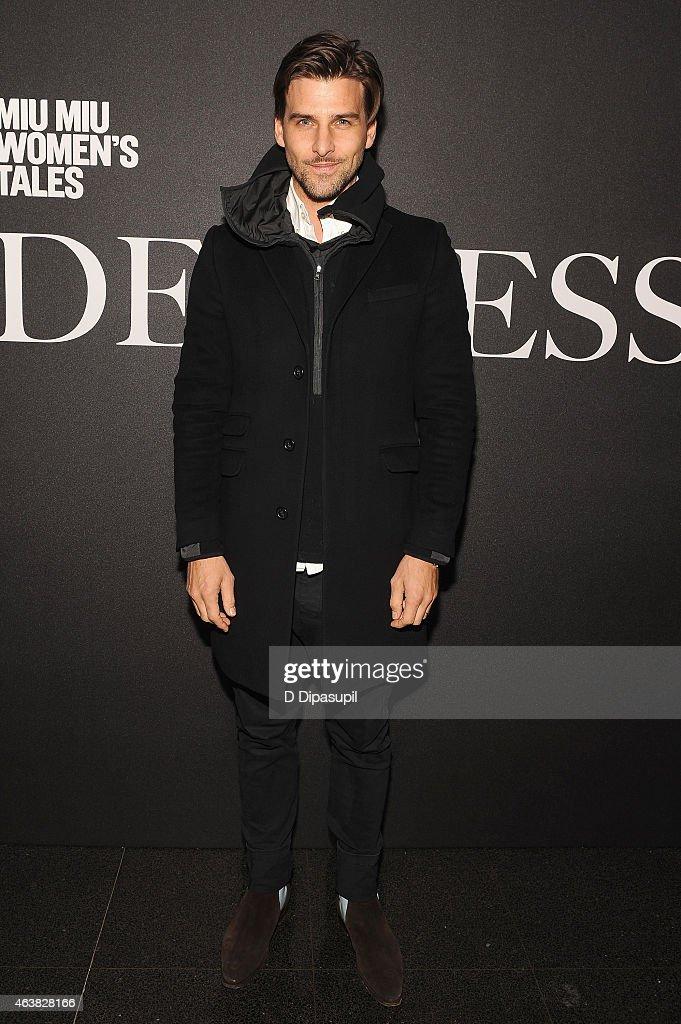 Model Johannes Huebl attends the Miu Miu Women's Tales 9th Edition 'De Djess' screening on February 18, 2015 in New York City.