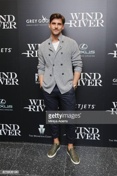 Model Johannes Huebl attends The Weinstein Company with FIJI Grey Goose Lexus and NetJets screening of Wind River at The Museum of Modern Art on...