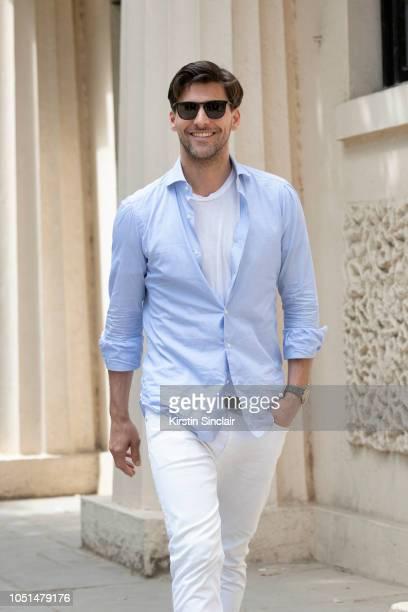 Model Johannes Huebl during London Fashion Week Men's on June 11 2018 in London England