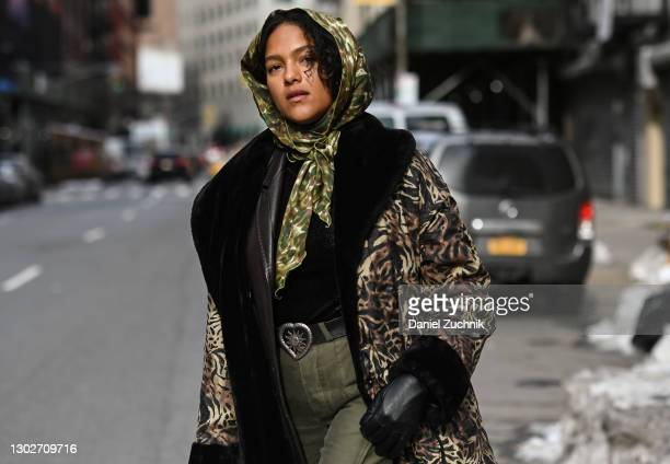 Model Joline Braun is seen wearing a vintage outfit during New York Fashion Week F/W21 on February 17, 2021 in New York City.