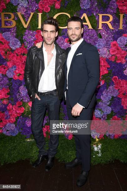 Model Jon Kortajarena and actor Giulio Berruti attend Bulgari's PreOscar Dinner at Chateau Marmont on February 25 2017 in Hollywood United States