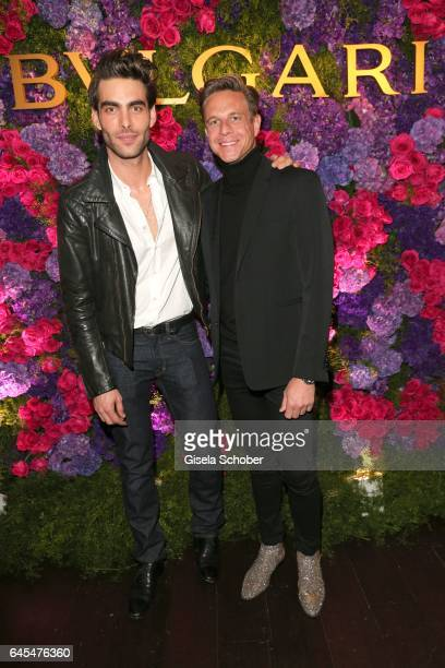 Model Jon Kortajarena and fashion designer Steffen Schraut during the Bulgari PreOscars party at hotel Chateau Marmont on February 25 2017 in Los...