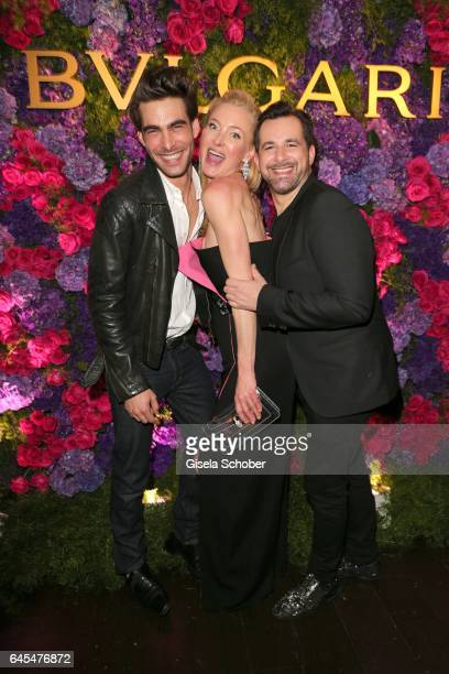 Model Jon Kortajarena and Princess Lilly zu SaynWittgensteinBerleburg and Bulgari International Communications Director Stephane Gerschel during the...