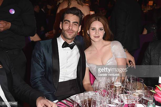 Model Jon Kortajarena and singersongwriter Lana Del Rey wearing Bulgari attends Bulgari at the 24th Annual Elton John AIDS Foundation's Oscar Viewing...